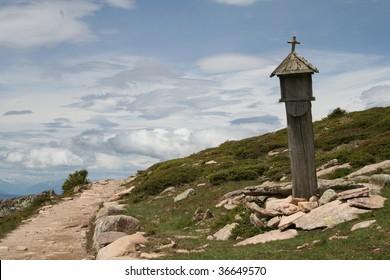 """via crucis"" path in Italian mountains"