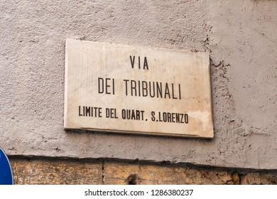 Via Dei Tribunali Street Sign in Naples City, Italy