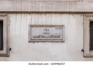 Via delle Quattro Fontane or Four Fountains with 4 Late Renaissance fountains