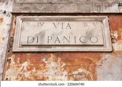 Via di Panico - old street sign in Rome, Italy