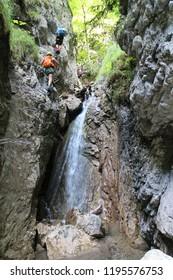 Via ferrata in canyon Kyseľ in Slovenský raj (Slovak Paradise National Park),Slovakia