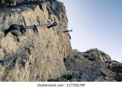 Via ferrata iron way in Julian Alps