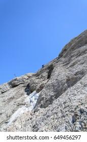 Via Ferrata on Marmolada, Dolomites, Italy