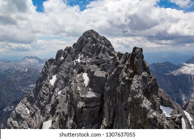 The via ferrata on the ridge of the Watzmann with view on the South peak, the Watzmann is located between the Königsee and the Wimbachgries valley