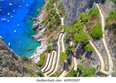Via Krupp descending to the sea, Capri, Capri island, Italy