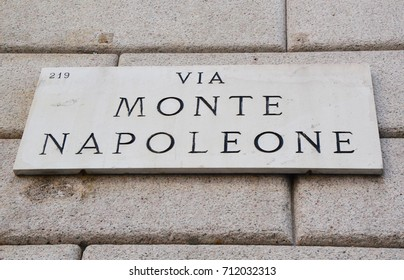 Via Monte Napoleone sign, famous street for fashion and luxury, Milan, Italy