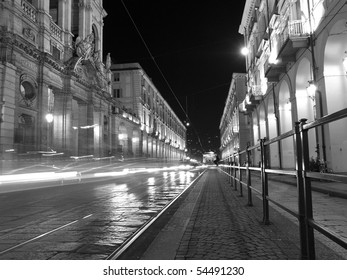 Via Po, ancient central baroque street in Turin (Torino) - at night
