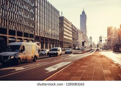 Via Vittor Pisani street in Milan, Italy. Milan cityscape at sunset. Street view of architecture of Milan.
