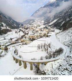 Viaduct of Brusio in the Swiss Alps, Bernina Express.