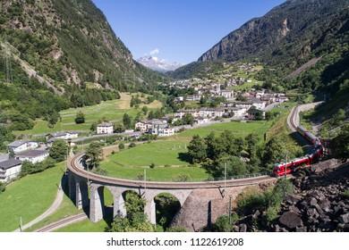 Viaduct of Brusio, Unesco Heritage in Val Poschiavo, Switzerland