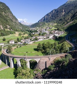 Viaduct of Brusio. Val Poschiavo. Aerial shot. Unesco Heritage