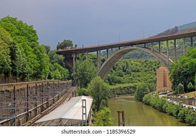 Viaduct de Miraflores over the River Nervion in Bilbao, Spain