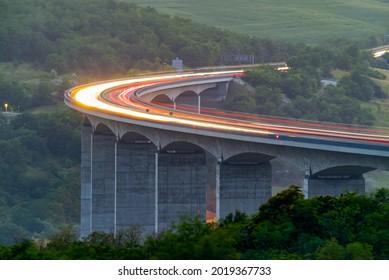 Viaduct of Koroshegy in Hungary next to lake Balaton in M7 Highway.