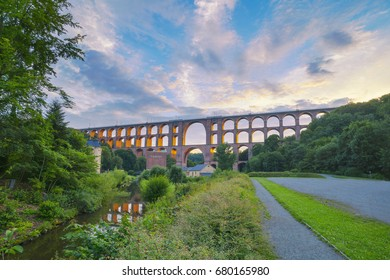 Göltzsch Viaduct - the largest brick-built bridge in the world, placed in Germany Free State of Saxonia. Bridge was built between 1846 and 1851 as a part of the railway between Saxonia and Bavaria.