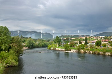 Viaduct of Millau, France, a 2.4km-long cable-stayed bridge, one of the world's tallest, crossing the Tarn valley