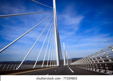 Viaduct of Millau, the highest bridge in the World. Aveyron, France. View from the moving car.