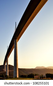 Viaduct Millau in the morning sun, Tarn valley in France