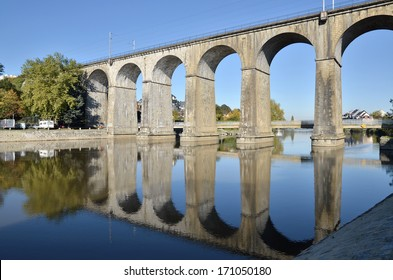 Viaduct on river Mayenne at Laval, commune in the Mayenne department in north western France