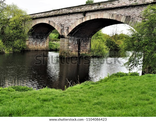 Viaduct over the River Wharf at Tadcaster, Yorkshire, England