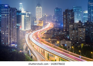 viaduct road through the center of the city,  shanghai cityscape at night
