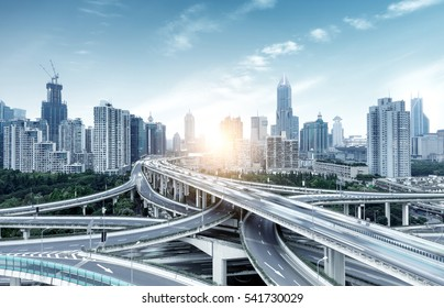 The viaduct traffic hub and modern architecture, Shanghai, China.