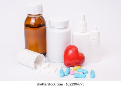 Vial clean clear care remedy cure take pattern copy-space concept. Close up photo of colorful different many small capsules pills split fall on table isolated on white background copyspace