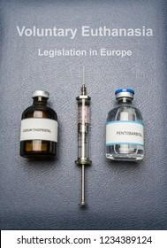 vials of sodium thiopental and pentobarbital on Book of voluntary euthanasia and legislation in Europe, concept of euthanasia