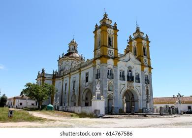VIANA DO ALENTEJO, PORTUGAL - May 9, 2014: The Santuario de Nossa Senhora de Aires, a famous pilgrimage marian site and sanctuary in Viana do Alentejo, Portugal.