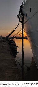 Viana do Castelo harbor at sunset.