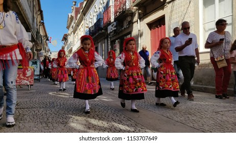 VIANA DO CASTELO, PORTUGAL - AUGUST 1O: Little mordomas in preparation parade for Romaria Sra d'Agonia in Viana do Castelo, Portugal on August 10, 2018