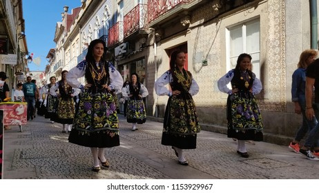 VIANA DO CASTELO, PORTUGAL - AUGUST 1O: Mordomas in preparation parade for Romaria Sra d'Agonia in Viana do Castelo, Portugal on August 10, 2018
