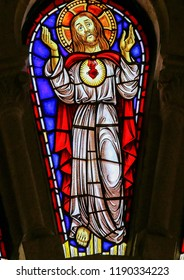 Viana do Castelo, Portugal - August 4, 2014: Stained glass window depicting Jesus Christ in the church of Viana do Castelo, Portugal.