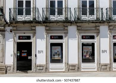 VIANA DO CASTELO, PORTUGAL - AUGUST 5, 2016::BPI bank in Portugal.
