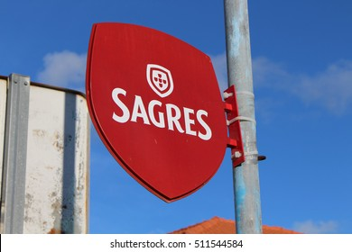 VIANA DO CASTELO, PORTUGAL - AUGUST 4, 2016: Sagres sign in Portugal. Sagres is a Portuguese beer founded in 1940.