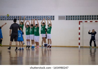 Viana do Castelo, Portugal - February 15, 2020: A.D. Afifense player in action against Becas B, game to count to the Minis Tournament organized by Afifense handball on February15, 2020 in Afife.