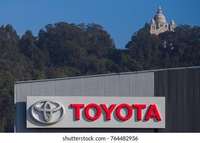 Viana do Castelo, Portugal, November 20, 2017: Toyota, empresa automotiva japonesa com stand em Viana do Castelo, Portugal. Situada perto do monte de Santa Luzia.
