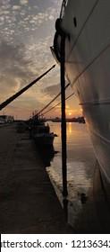 Viana do Castelo river bank sunset.