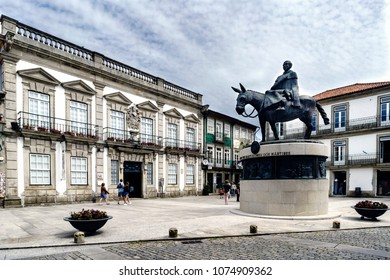 Viana do Casterlo, Portugal. August 15, 2017: Statue of Fray Bartolomeu dos martires, archbishop of Braga in the sixteenth century. Built in bronze and depicting him mounted on a mule