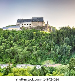 The Vianden Castle, built between 11th and 14th century on a hill above the city of Vianden, Luxembourg.