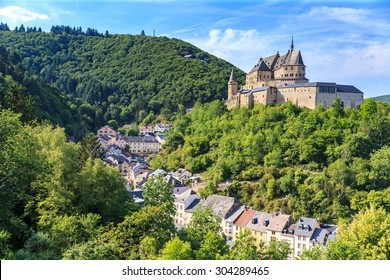 Vianden castle and a small valley, Luxembourg.