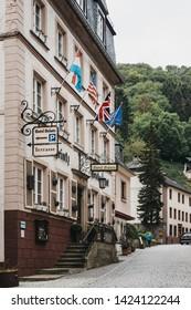 Vianden, Luxembourg - May 18, 2019: Exterior of the Hotel Heintz in Vianden, town in Luxembourgs Ardennes region known for the centuries-old hilltop Vianden Castle.