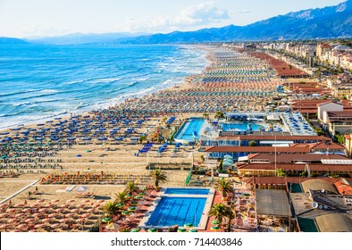 Viareggio aerial panoramic view of coastline, Versilia, Tuscany,Italy.