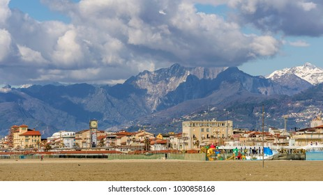 Viareggio and the Apuan Alps from the beach, Lucca, Tuscany, Italy
