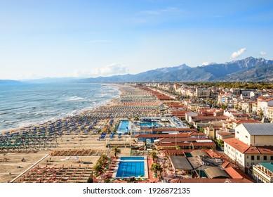 Viareggio drone panoramic view of coastline, Versilia, Tuscany,Italy.