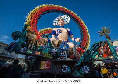 VIAREGGIO - FEB 12: Allegorical float on the path of Viareggio at the Carnival of Viareggio February 12, 2017 in Viareggio, Italy.