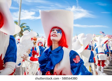 VIAREGGIO - FEB 26: Allegorical float on the path of Viareggio at the Carnival of Viareggio February 26, 2017 in Viareggio, Italy.