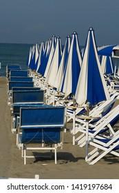 Viareggio, Italy - 05/25/2008: Versilia: Bathing establishments on the beach of Viareggio