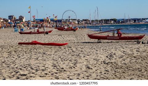 Viareggio, Italy - 09/29/2018: A Quiet Afternoon on the Beach