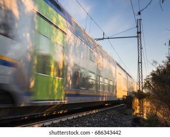 Viareggio Italy: December 2016: Trenitalia. Train from Viareggio to Lucca passing through the countryside of Massarosa, Pioppogatto.