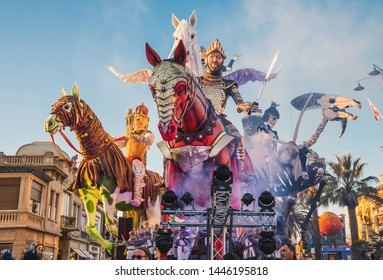 VIAREGGIO, ITALY: FEB. 23, 2019 The parade of carnival floats on streets of Viareggio, Italy. Carnival of Viareggio is considered one of the most important carnivals in Italy.